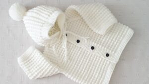 Fare Dişi Kapşonlu Bebek Hırkası