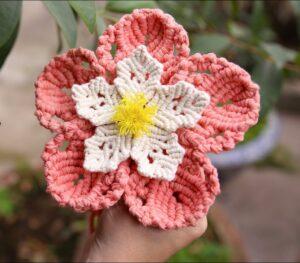İki Renkli Makrome Çiçek Yapımı